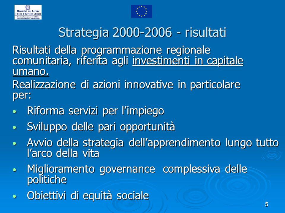 5 Risultati della programmazione regionale comunitaria, riferita agli investimenti in capitale umano.