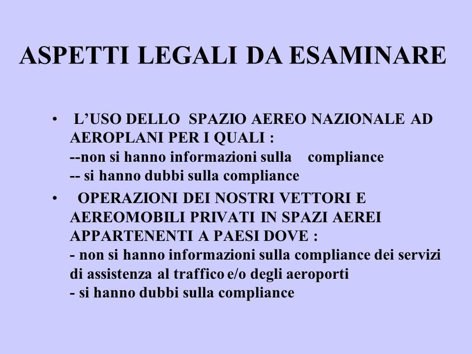 LUSO DELLO SPAZIO AEREO NAZIONALE AD AEROPLANI PER I QUALI : --non si hanno informazioni sulla compliance -- si hanno dubbi sulla compliance OPERAZIONI DEI NOSTRI VETTORI E AEREOMOBILI PRIVATI IN SPAZI AEREI APPARTENENTI A PAESI DOVE : - non si hanno informazioni sulla compliance dei servizi di assistenza al traffico e/o degli aeroporti - si hanno dubbi sulla compliance ASPETTI LEGALI DA ESAMINARE