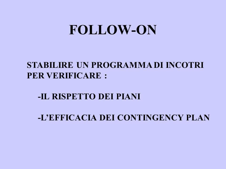 FOLLOW-ON STABILIRE UN PROGRAMMA DI INCOTRI PER VERIFICARE : -IL RISPETTO DEI PIANI -LEFFICACIA DEI CONTINGENCY PLAN