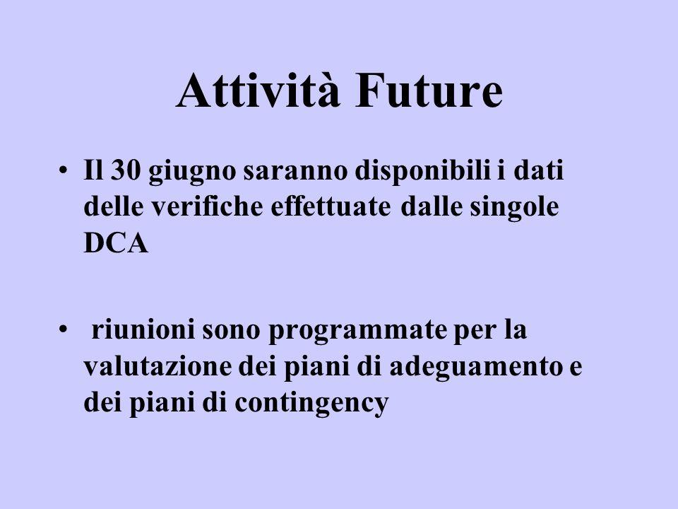 Attività Future Il 30 giugno saranno disponibili i dati delle verifiche effettuate dalle singole DCA riunioni sono programmate per la valutazione dei piani di adeguamento e dei piani di contingency
