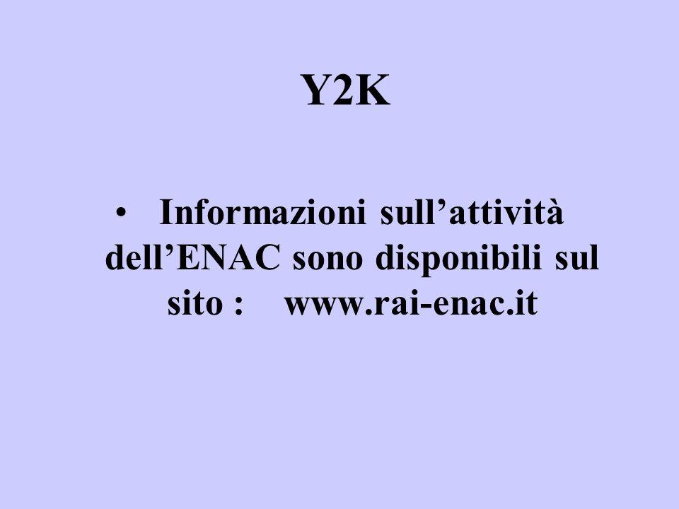 Informazioni sullattività dellENAC sono disponibili sul sito : www.rai-enac.it Y2K