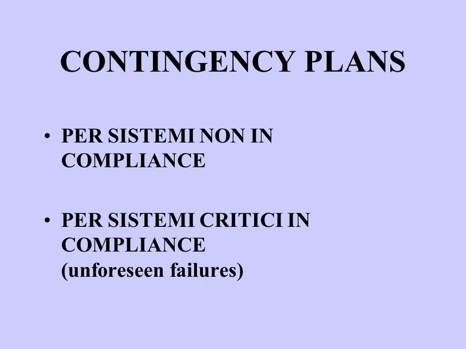 CONTINGENCY PLANS PER SISTEMI NON IN COMPLIANCE PER SISTEMI CRITICI IN COMPLIANCE (unforeseen failures)