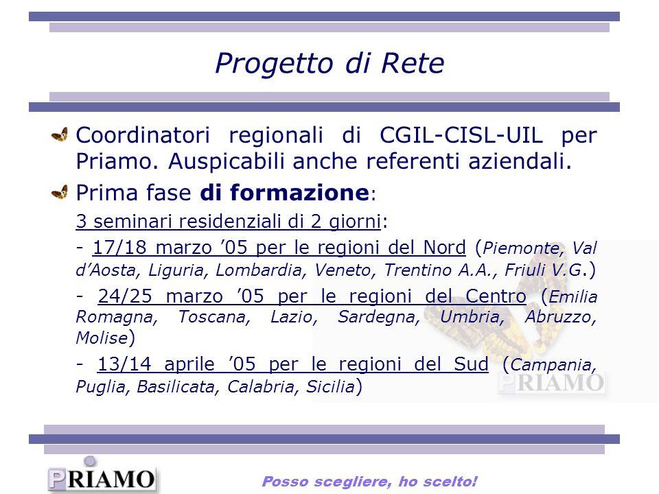 Progetto di Rete Coordinatori regionali di CGIL-CISL-UIL per Priamo. Auspicabili anche referenti aziendali. Prima fase di formazione : 3 seminari resi
