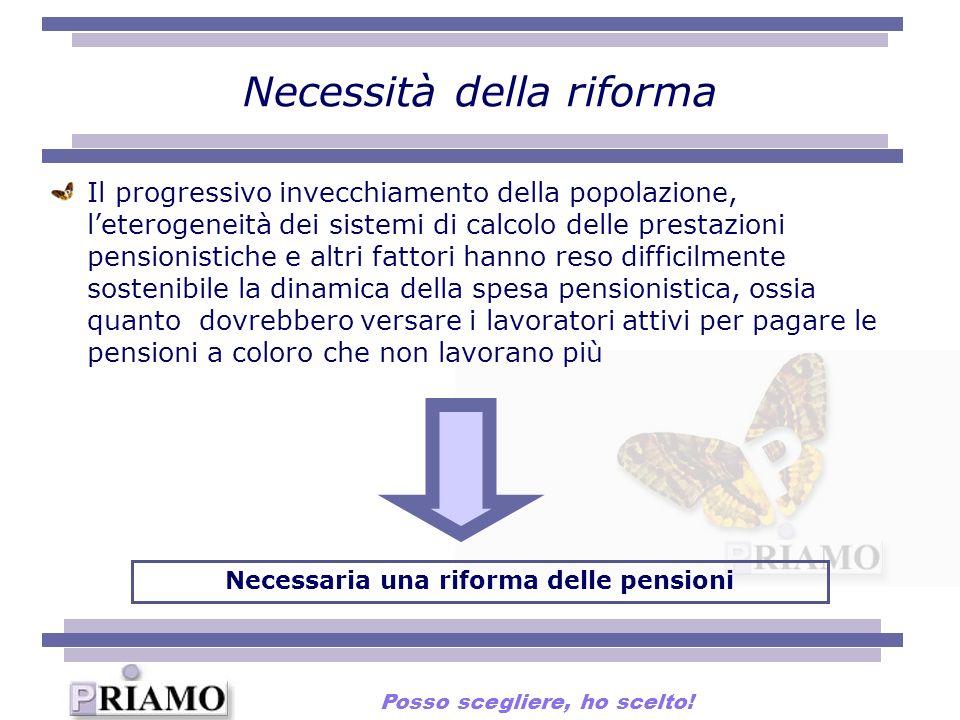 Necessità della riforma Il progressivo invecchiamento della popolazione, leterogeneità dei sistemi di calcolo delle prestazioni pensionistiche e altri