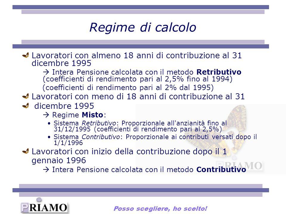 Regime di calcolo Lavoratori con almeno 18 anni di contribuzione al 31 dicembre 1995 Intera Pensione calcolata con il metodo Retributivo (coefficienti di rendimento pari al 2,5% fino al 1994) (coefficienti di rendimento pari al 2% dal 1995) Lavoratori con meno di 18 anni di contribuzione al 31 dicembre 1995 Regime Misto: Sistema Retributivo: Proporzionale all anzianità fino al 31/12/1995 (coefficienti di rendimento pari al 2,5%) Sistema Contributivo: Proporzionale ai contributi versati dopo il 1/1/1996 Lavoratori con inizio della contribuzione dopo il 1 gennaio 1996 Intera Pensione calcolata con il metodo Contributivo Posso scegliere, ho scelto!