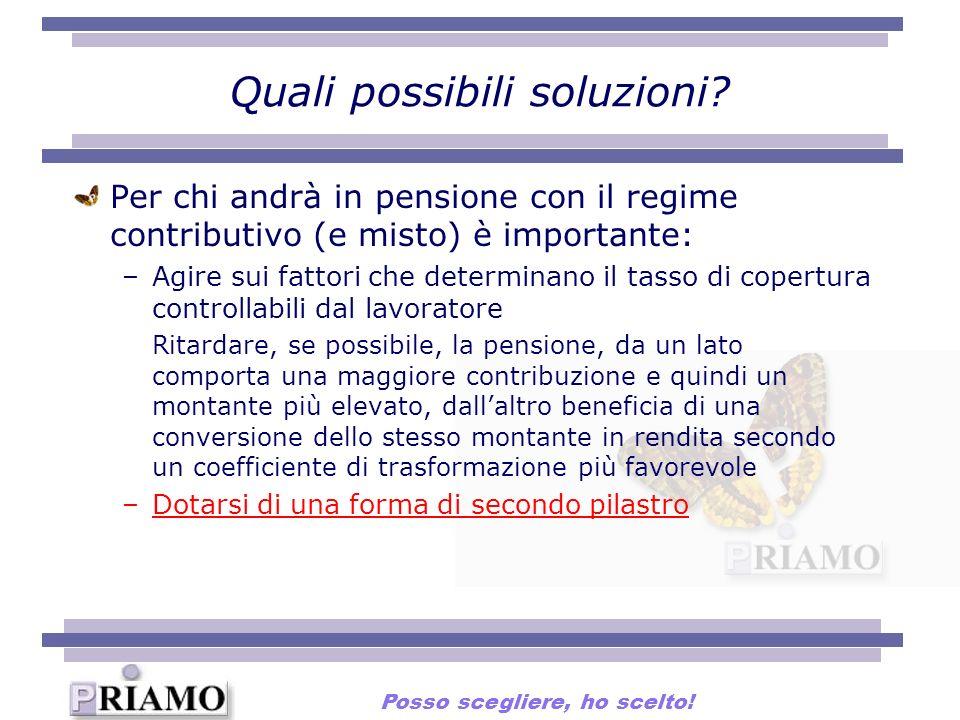 Quali possibili soluzioni? Per chi andrà in pensione con il regime contributivo (e misto) è importante: –Agire sui fattori che determinano il tasso di
