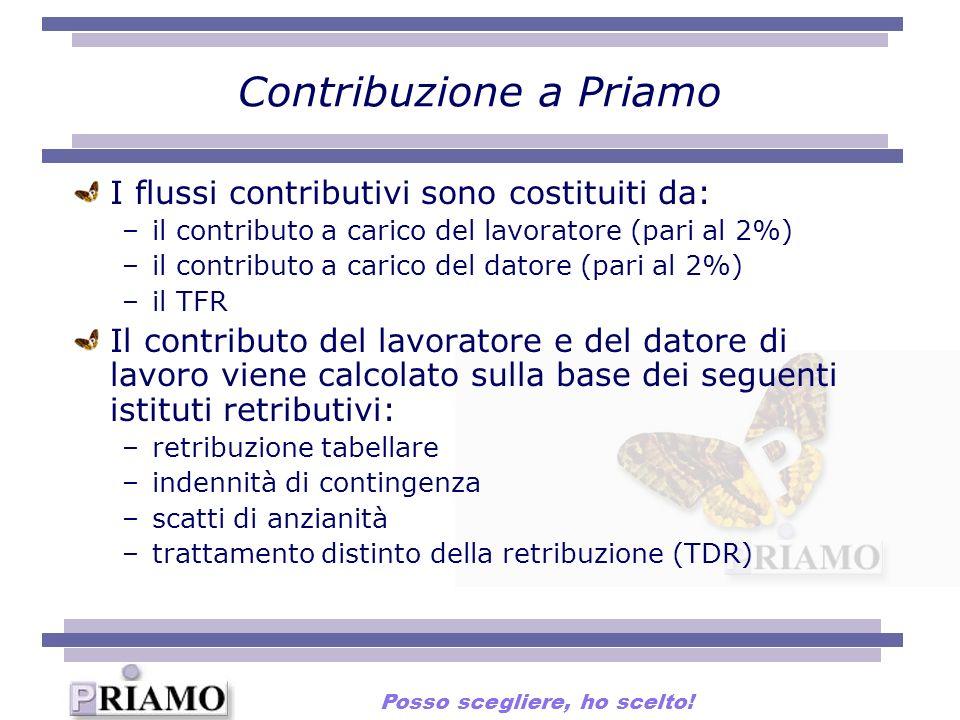 Contribuzione a Priamo I flussi contributivi sono costituiti da: –il contributo a carico del lavoratore (pari al 2%) –il contributo a carico del dator