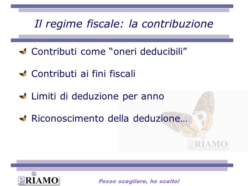 Il regime fiscale: la contribuzione Contributi come oneri deducibili Contributi ai fini fiscali Limiti di deduzione per anno Riconoscimento della dedu