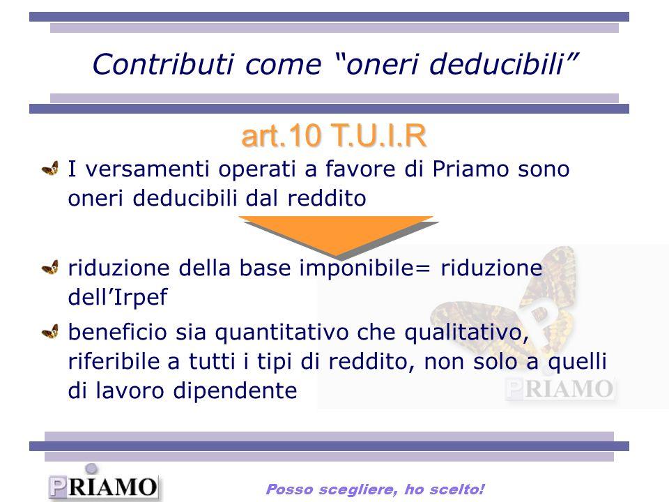 Contributi come oneri deducibili I versamenti operati a favore di Priamo sono oneri deducibili dal reddito riduzione della base imponibile= riduzione