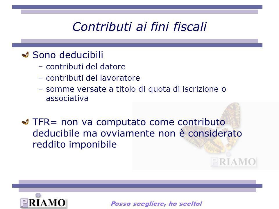 Contributi ai fini fiscali Sono deducibili –contributi del datore –contributi del lavoratore –somme versate a titolo di quota di iscrizione o associat