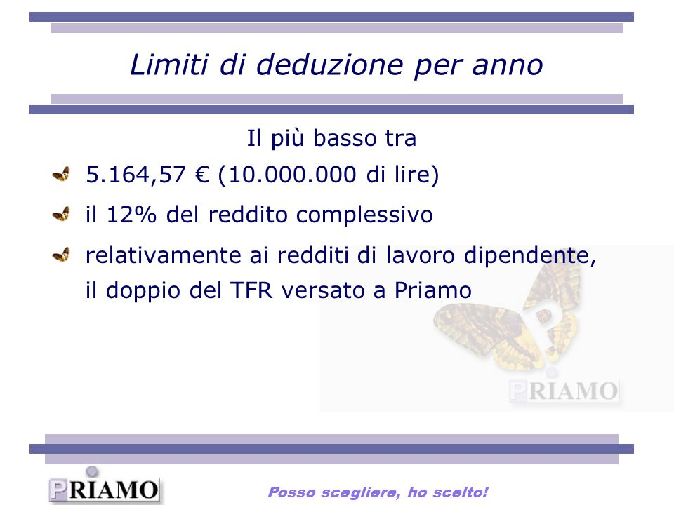 Limiti di deduzione per anno Il più basso tra 5.164,57 (10.000.000 di lire) il 12% del reddito complessivo relativamente ai redditi di lavoro dipendente, il doppio del TFR versato a Priamo Posso scegliere, ho scelto!