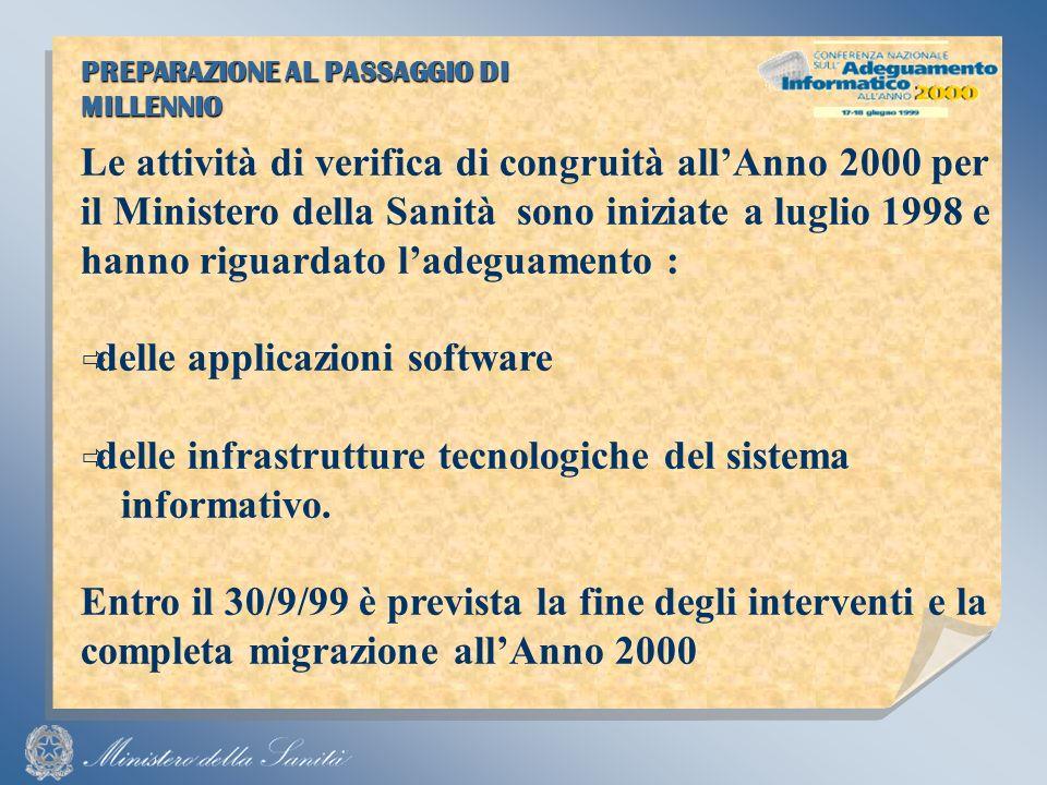 PREPARAZIONE AL PASSAGGIO DI MILLENNIO Le attività di verifica di congruità allAnno 2000 per il Ministero della Sanità sono iniziate a luglio 1998 e hanno riguardato ladeguamento : delle applicazioni software delle infrastrutture tecnologiche del sistema informativo.