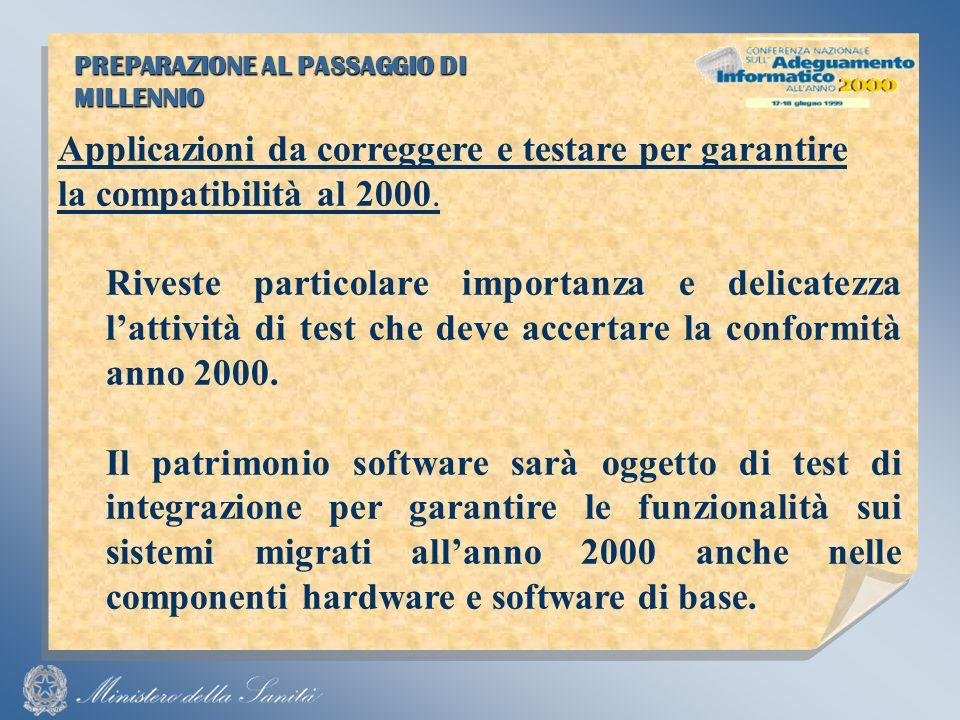 PREPARAZIONE AL PASSAGGIO DI MILLENNIO Applicazioni da correggere e testare per garantire la compatibilità al 2000.