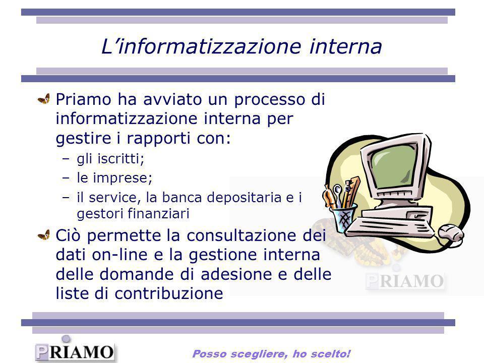Linformatizzazione interna Priamo ha avviato un processo di informatizzazione interna per gestire i rapporti con: –gli iscritti; –le imprese; –il serv