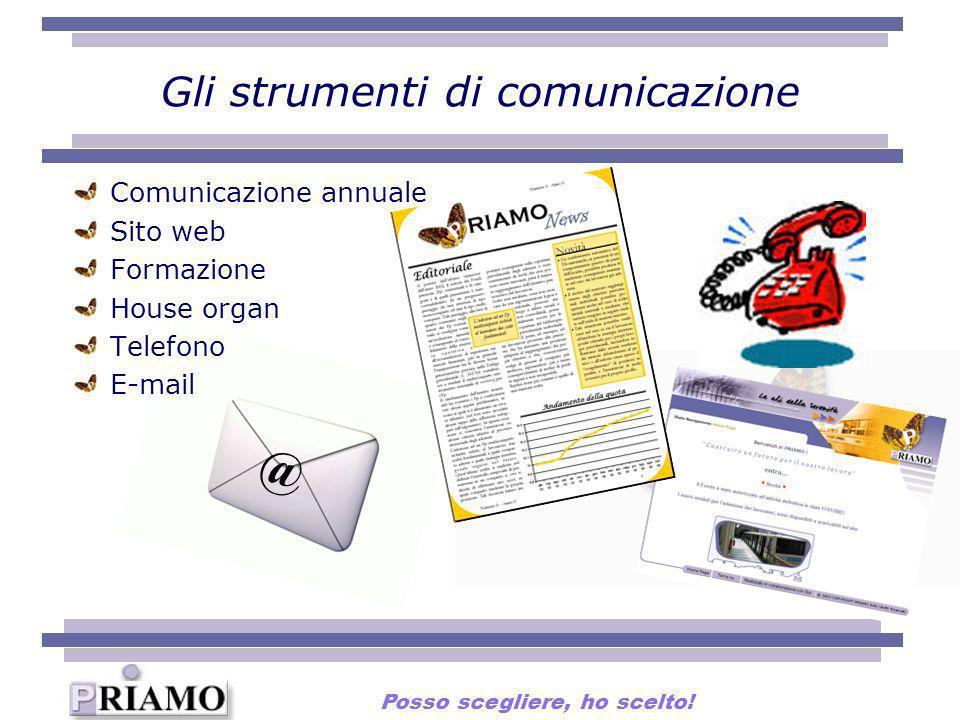 Gli strumenti di comunicazione @ Comunicazione annuale Sito web Formazione House organ Telefono E-mail Posso scegliere, ho scelto!