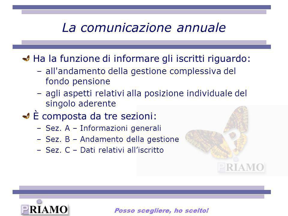 La comunicazione annuale Ha la funzione di informare gli iscritti riguardo: –all'andamento della gestione complessiva del fondo pensione –agli aspetti