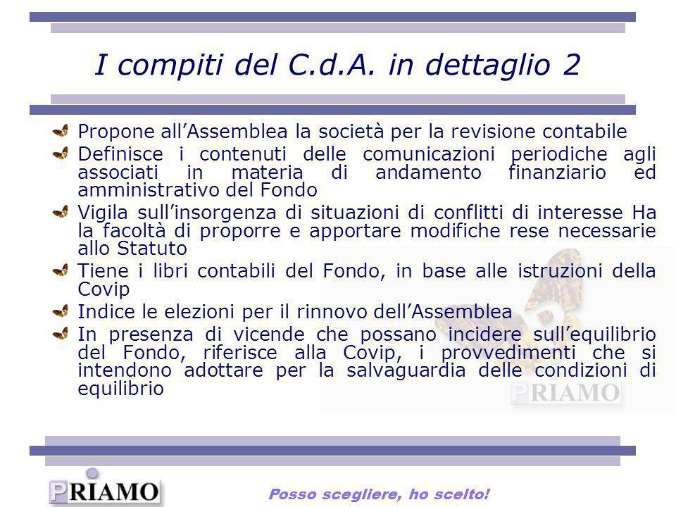 I compiti del C.d.A. in dettaglio 2 Propone allAssemblea la società per la revisione contabile Definisce i contenuti delle comunicazioni periodiche ag