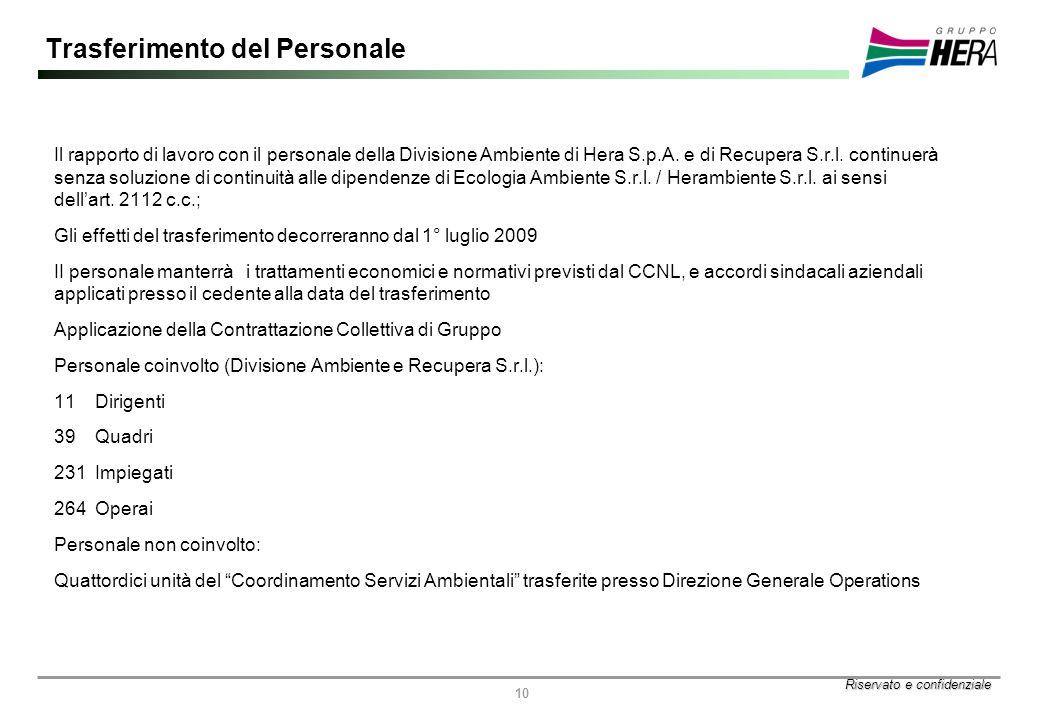 Riservato e confidenziale 10 Trasferimento del Personale Il rapporto di lavoro con il personale della Divisione Ambiente di Hera S.p.A.