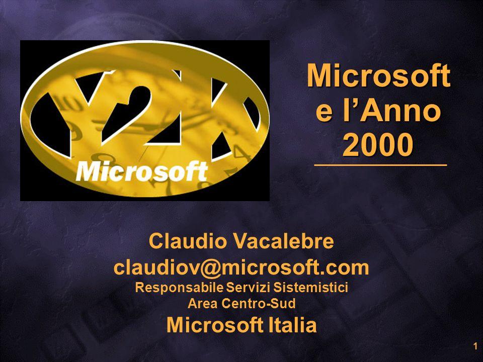 1 Microsoft e lAnno 2000 Claudio Vacalebre claudiov@microsoft.com Responsabile Servizi Sistemistici Area Centro-Sud Microsoft Italia