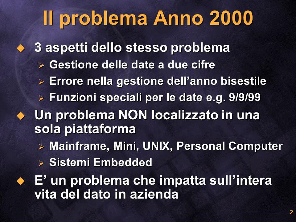 2 Il problema Anno 2000 3 aspetti dello stesso problema 3 aspetti dello stesso problema Gestione delle date a due cifre Gestione delle date a due cifr
