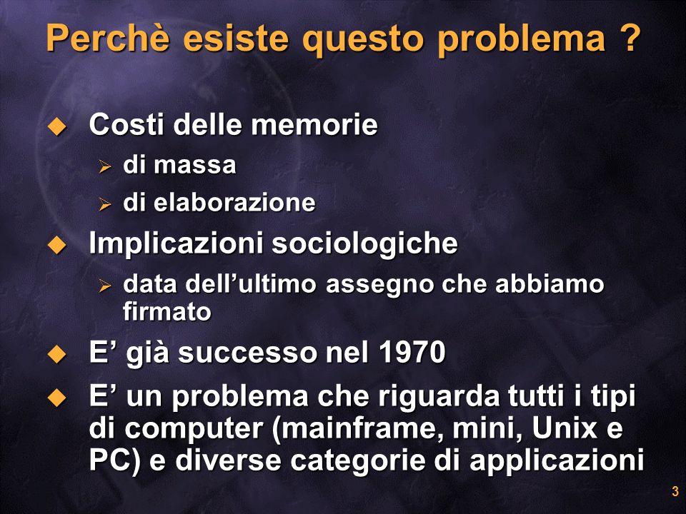 3 Perchè esiste questo problema ? Costi delle memorie Costi delle memorie di massa di massa di elaborazione di elaborazione Implicazioni sociologiche