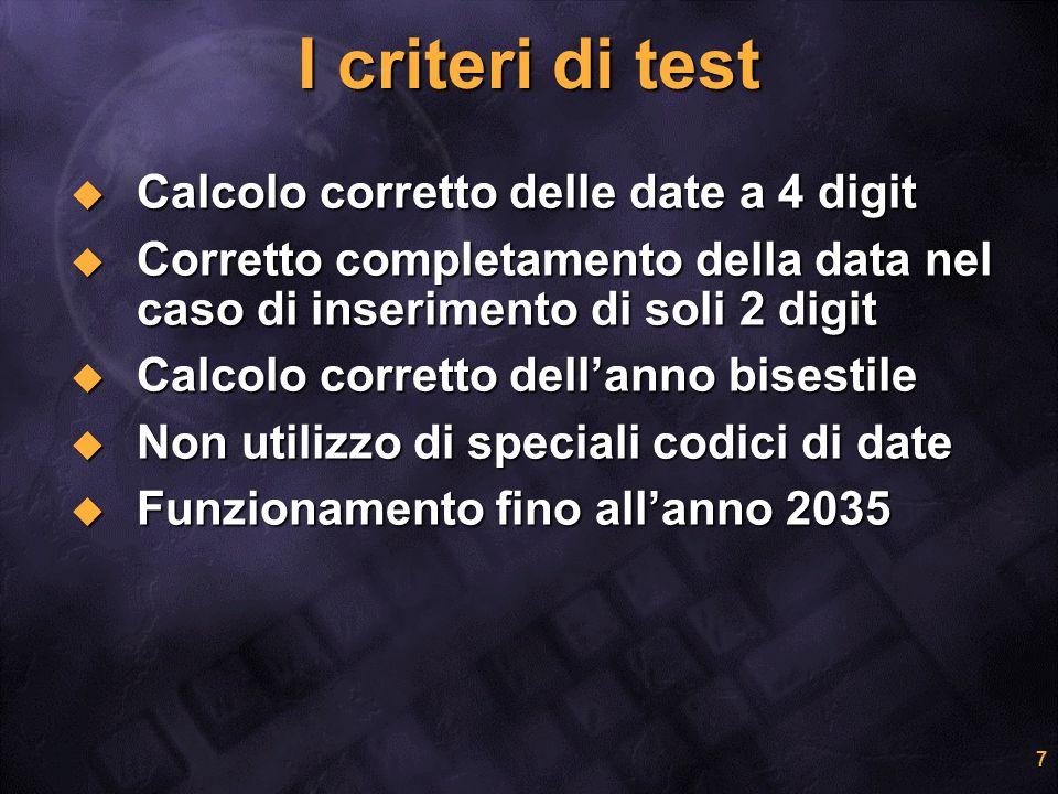 7 I criteri di test Calcolo corretto delle date a 4 digit Calcolo corretto delle date a 4 digit Corretto completamento della data nel caso di inserime