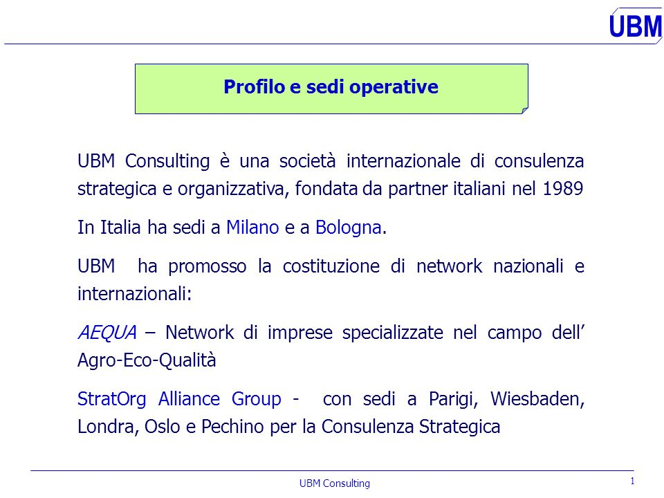 UBM UBM Consulting s.r.l. International Management and Research Consultants UBM Certificato n°06774-2000