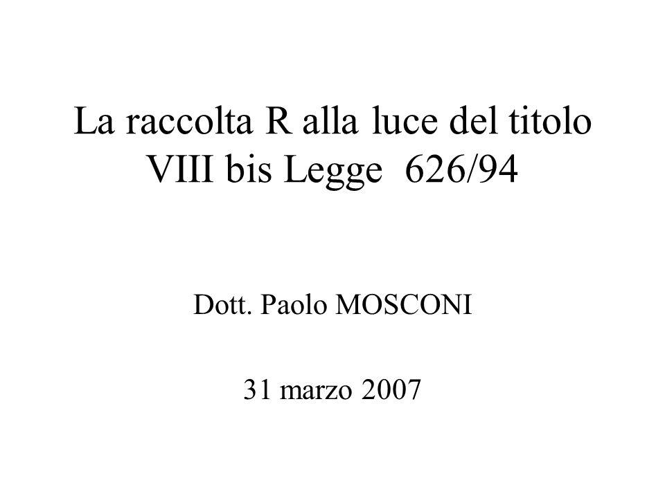 La raccolta R alla luce del titolo VIII bis Legge 626/94 Dott. Paolo MOSCONI 31 marzo 2007