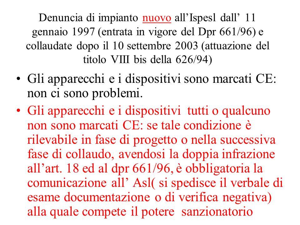 Denuncia di impianto nuovo allIspesl dall 11 gennaio 1997 (entrata in vigore del Dpr 661/96) e collaudate dopo il 10 settembre 2003 (attuazione del ti