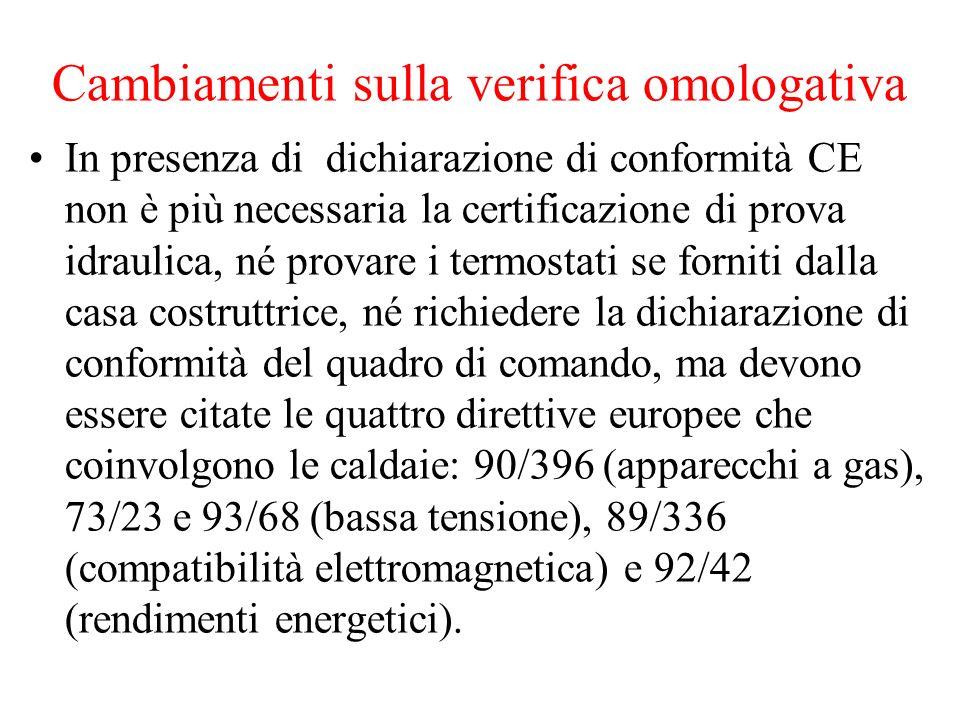 Cambiamenti sulla verifica omologativa In presenza di dichiarazione di conformità CE non è più necessaria la certificazione di prova idraulica, né pro