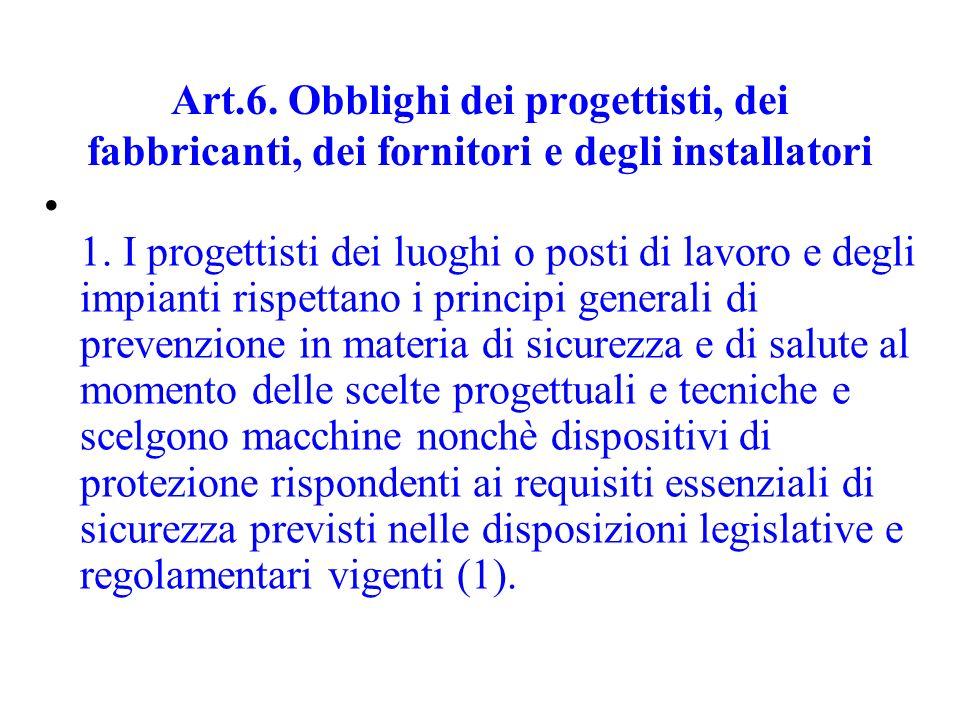 Art.6. Obblighi dei progettisti, dei fabbricanti, dei fornitori e degli installatori 1. I progettisti dei luoghi o posti di lavoro e degli impianti ri
