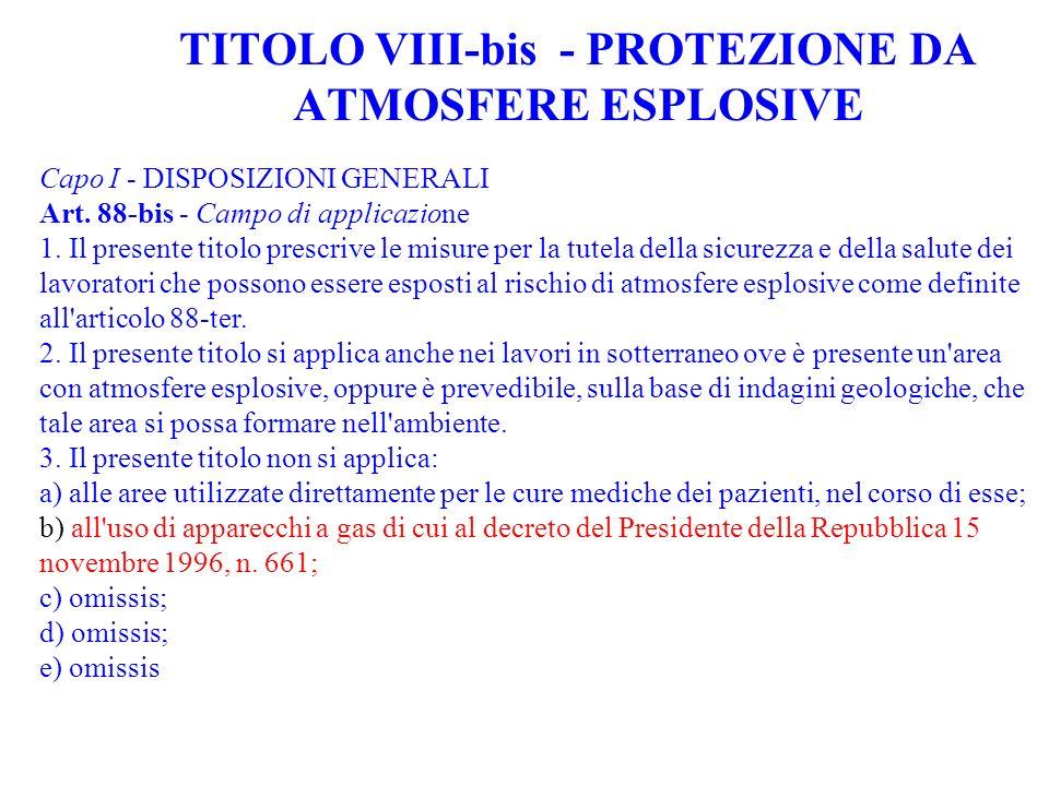 TITOLO VIII-bis - PROTEZIONE DA ATMOSFERE ESPLOSIVE Capo I - DISPOSIZIONI GENERALI Art. 88-bis - Campo di applicazione 1. Il presente titolo prescrive