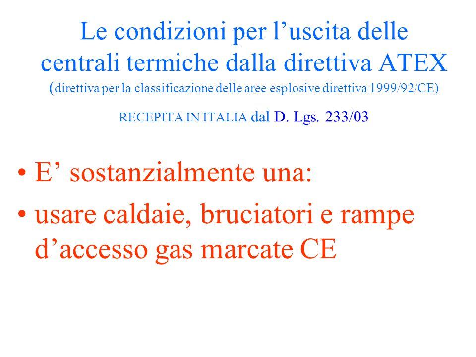 Le condizioni per luscita delle centrali termiche dalla direttiva ATEX ( direttiva per la classificazione delle aree esplosive direttiva 1999/92/CE) R