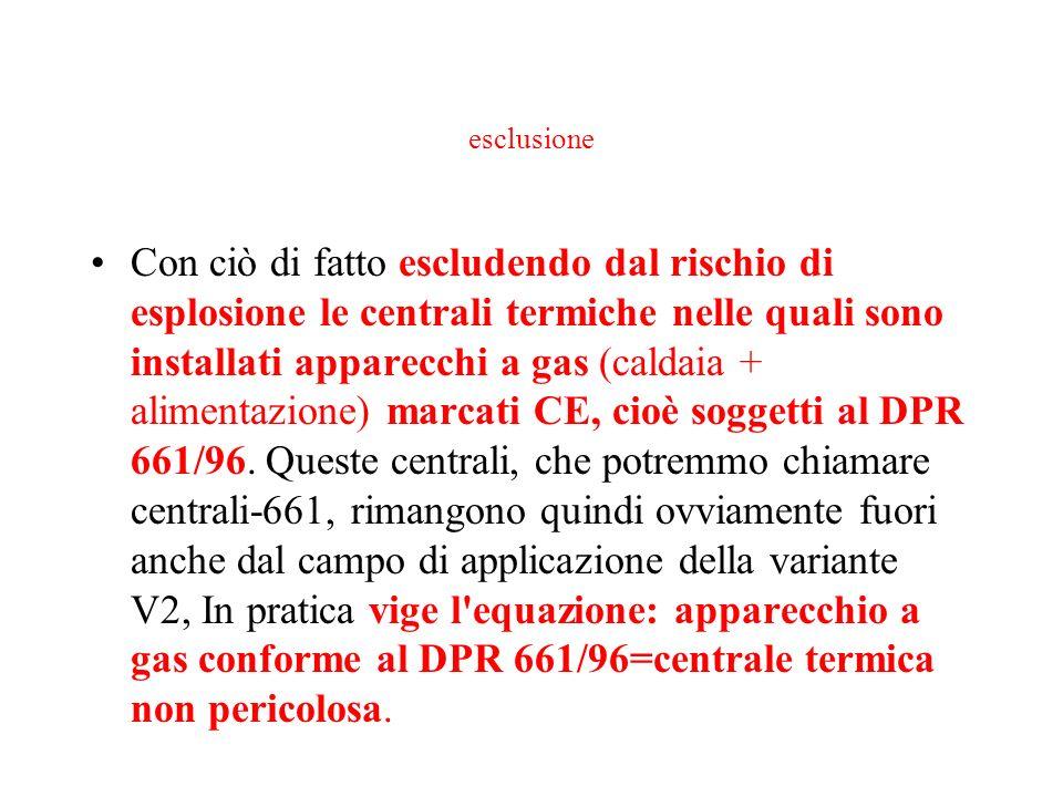 esclusione Con ciò di fatto escludendo dal rischio di esplosione le centrali termiche nelle quali sono installati apparecchi a gas (caldaia + alimenta