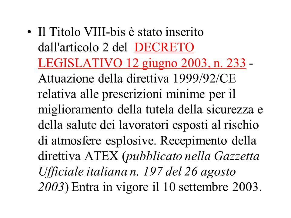 Il Titolo VIII-bis è stato inserito dall'articolo 2 del DECRETO LEGISLATIVO 12 giugno 2003, n. 233 - Attuazione della direttiva 1999/92/CE relativa al