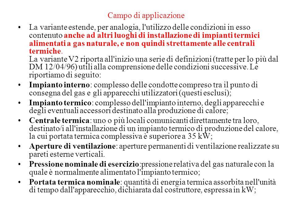 Campo di applicazione La variante estende, per analogia, l'utilizzo delle condizioni in esso contenuto anche ad altri luoghi di installazione di impia