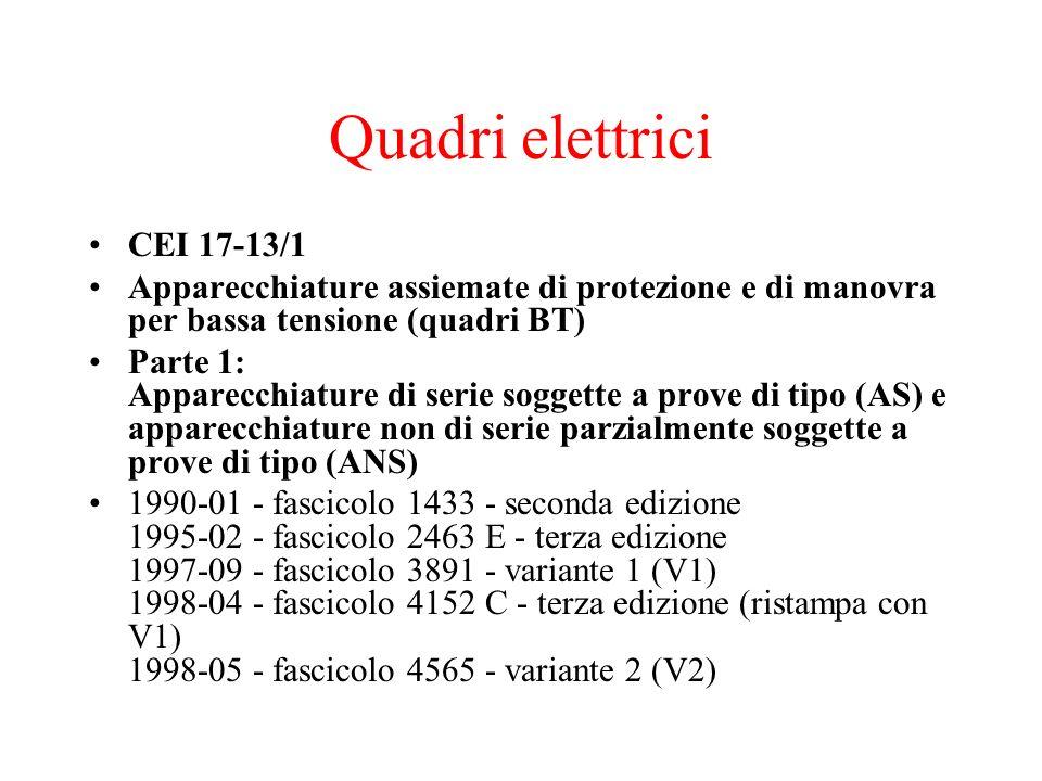 Quadri elettrici CEI 17-13/1 Apparecchiature assiemate di protezione e di manovra per bassa tensione (quadri BT) Parte 1: Apparecchiature di serie sog
