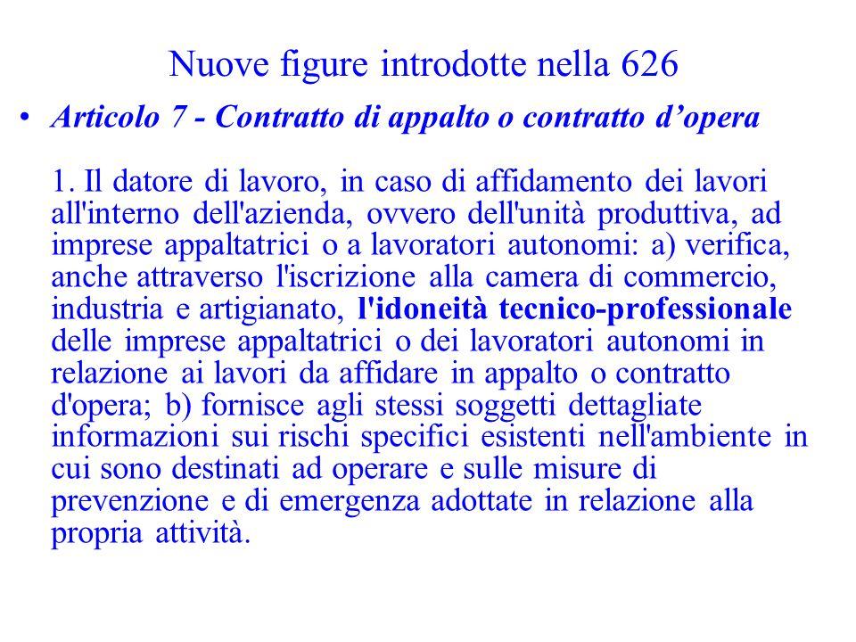 Nuove figure introdotte nella 626 Articolo 7 - Contratto di appalto o contratto dopera 1. Il datore di lavoro, in caso di affidamento dei lavori all'i