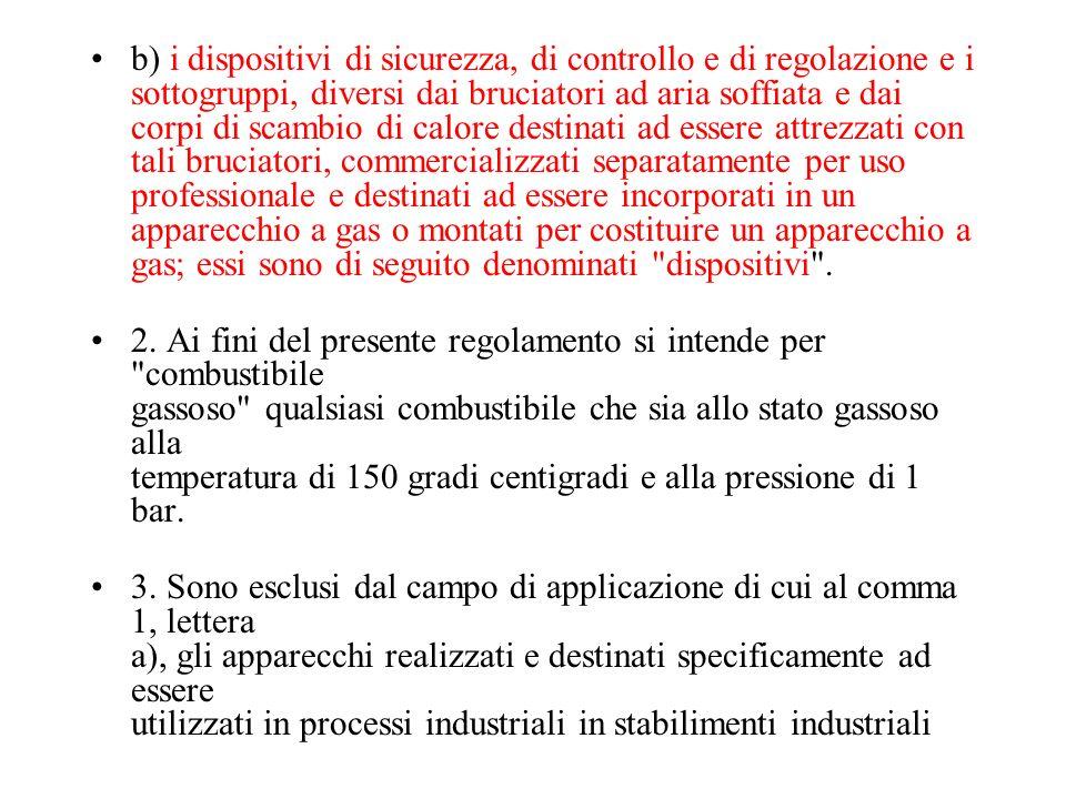 b) i dispositivi di sicurezza, di controllo e di regolazione e i sottogruppi, diversi dai bruciatori ad aria soffiata e dai corpi di scambio di calore