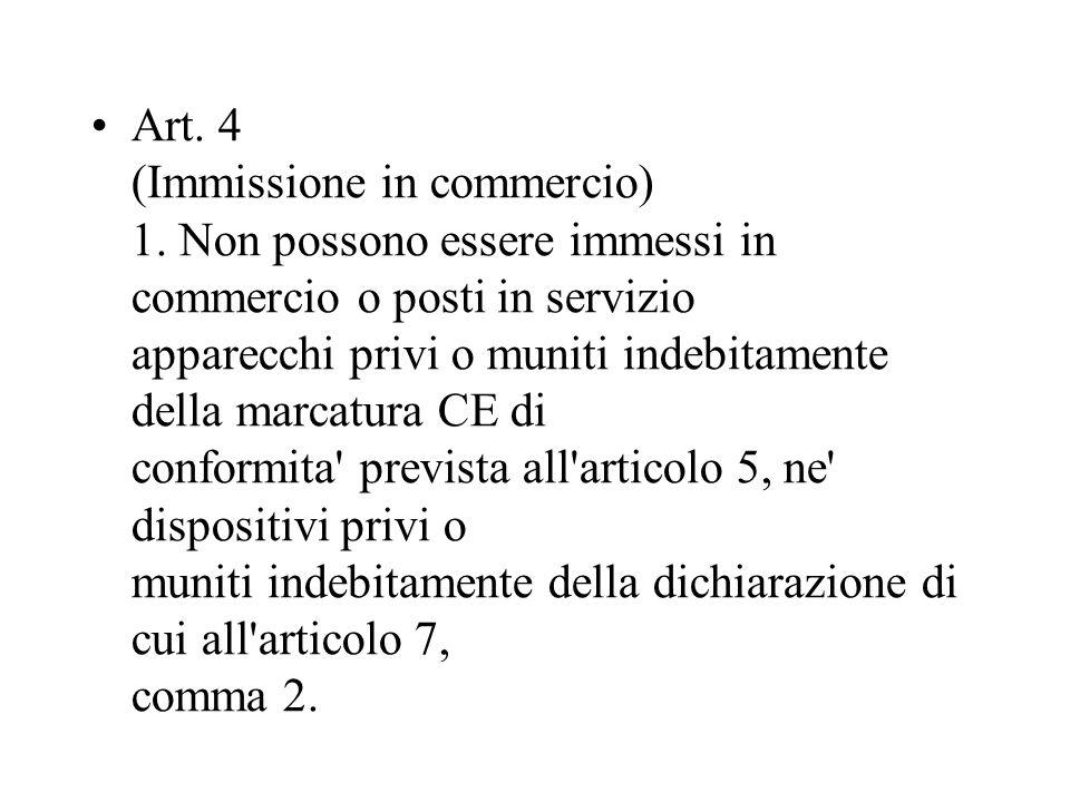 Art. 4 (Immissione in commercio) 1. Non possono essere immessi in commercio o posti in servizio apparecchi privi o muniti indebitamente della marcatur