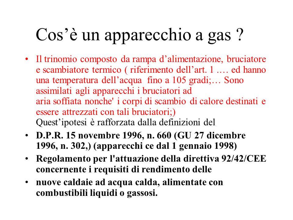 Cosè un apparecchio a gas ? Il trinomio composto da rampa dalimentazione, bruciatore e scambiatore termico ( riferimento dellart. 1.… ed hanno una tem