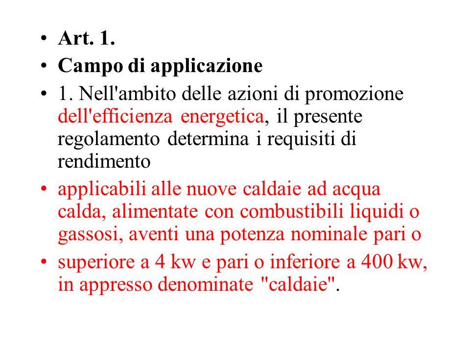 Art. 1. Campo di applicazione 1. Nell'ambito delle azioni di promozione dell'efficienza energetica, il presente regolamento determina i requisiti di r