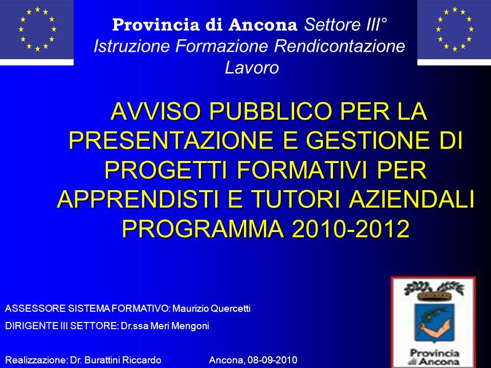 AVVISO PUBBLICO PER LA PRESENTAZIONE E GESTIONE DI PROGETTI FORMATIVI PER APPRENDISTI E TUTORI AZIENDALI PROGRAMMA 2010-2012 AVVISO PUBBLICO PER LA PRESENTAZIONE E GESTIONE DI PROGETTI FORMATIVI PER APPRENDISTI E TUTORI AZIENDALI PROGRAMMA 2010-2012 Provincia di Ancona Settore III° Istruzione Formazione Rendicontazione Lavoro ASSESSORE SISTEMA FORMATIVO: Maurizio Quercetti DIRIGENTE III SETTORE: Dr.ssa Meri Mengoni Realizzazione: Dr.