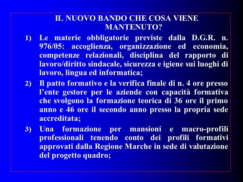IL NUOVO BANDO CHE COSA VIENE MANTENUTO? 1) Le materie obbligatorie previste dalla D.G.R. n. 976/05: accoglienza, organizzazione ed economia, competen