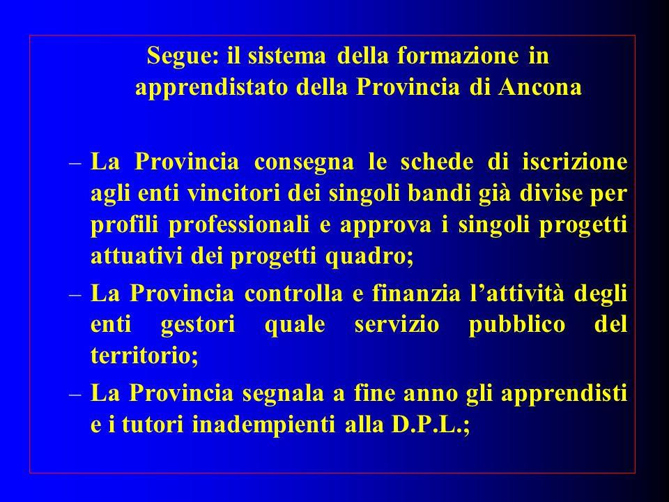 Segue: il sistema della formazione in apprendistato della Provincia di Ancona – La Provincia consegna le schede di iscrizione agli enti vincitori dei
