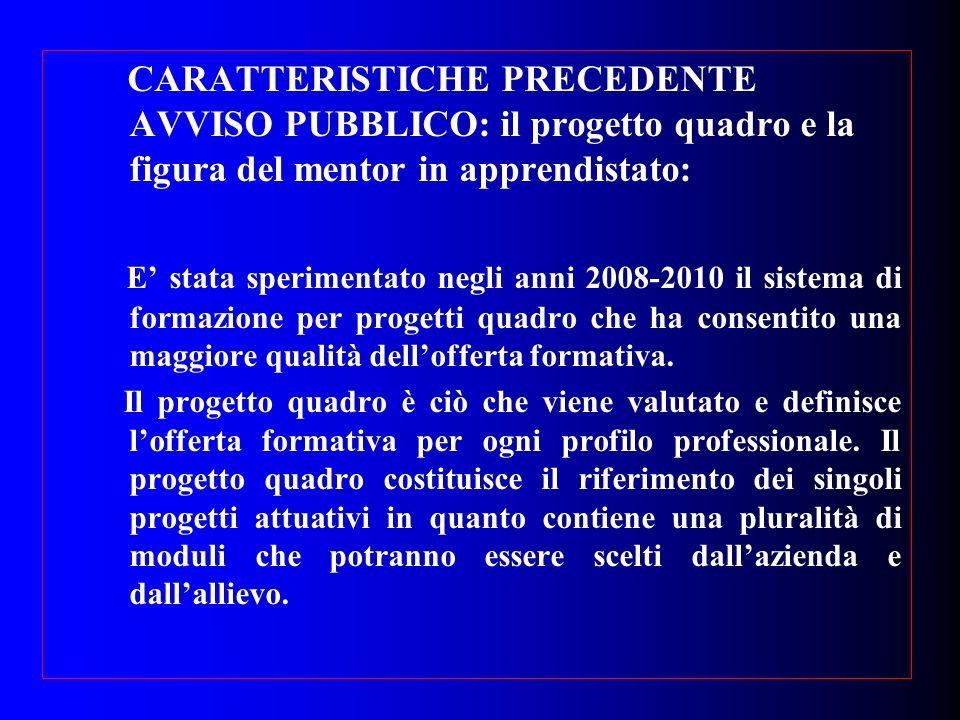 CARATTERISTICHE PRECEDENTE AVVISO PUBBLICO: il progetto quadro e la figura del mentor in apprendistato: E stata sperimentato negli anni 2008-2010 il s