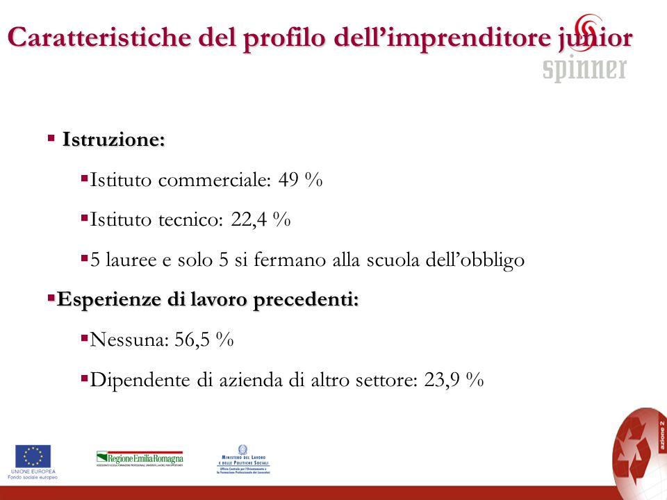 Caratteristiche del profilo dellimprenditore junior Istruzione: Istituto commerciale: 49 % Istituto tecnico: 22,4 % 5 lauree e solo 5 si fermano alla