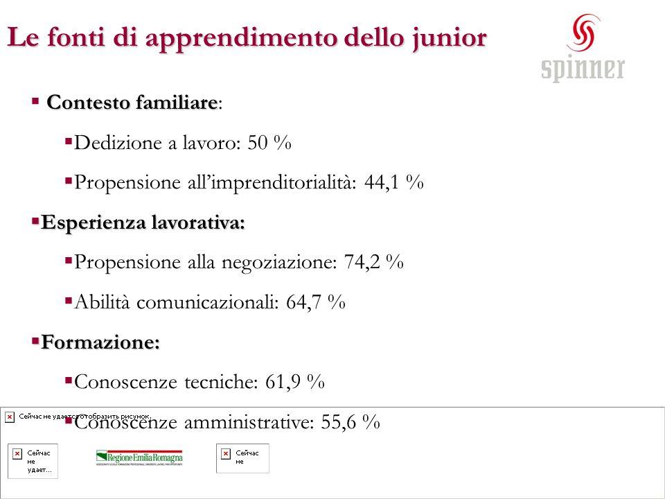Le fonti di apprendimento dello junior Contesto familiare Contesto familiare: Dedizione a lavoro: 50 % Propensione allimprenditorialità: 44,1 % Esperi