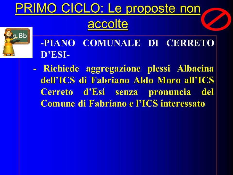 PRIMO CICLO: Le proposte non accolte -PIANO COMUNALE DI CERRETO DESI- - Richiede aggregazione plessi Albacina dellICS di Fabriano Aldo Moro allICS Cer