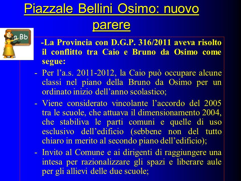 Piazzale Bellini Osimo: nuovo parere -La Provincia con D.G.P. 316/2011 aveva risolto il conflitto tra Caio e Bruno da Osimo come segue: -Per la.s. 201